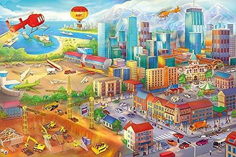 Poster Kinderzimmer comic style Wandbild Dekoration Wimmelbild Großstadt Baustelle Hubschrauber Flugzeug Bagger Flughafen | Wandposter Fotoposter Wanddeko Wandgestaltung by GREAT ART (140 x 100