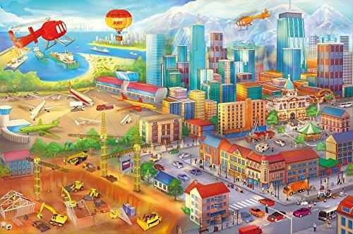 Poster Kinderzimmer comic style Wandbild Dekoration Wimmelbild Großstadt Baustelle Hubschrauber Flugzeug Bagger Flughafen | Wandposter Fotoposter Wanddeko Wandgestaltung by GREAT ART (140 x 100 cm)