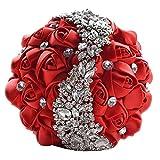 Zinsale seta Lusso shinny fatto a mano Strass nuziale Bouquet da sposa Diamante Tenendo il fiore (Rosso)