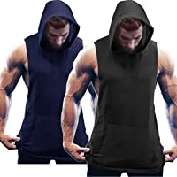 COOFANDY Gilet sans Manches Hommes Workout Sport Fitness Hoodie Muscle Shirt pour Gym Training 2 pièces