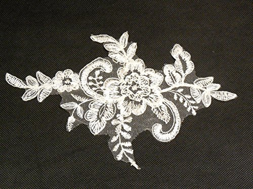 Elfenbeinfarben Floral Spitze Brautkleid nähen Applikation Tüll Spitze Motiv ca. 21cm x 13,3cm...