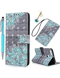 Funda Xiaomi Mi A1, Funda Libro de Cuero con TPU Case Interna, Xiaomi Mi 5X Flip Cover Suave, Wallet Case Elegante con Soporte Plegable, Ranuras para Tarjetas y Billetes - Flor
