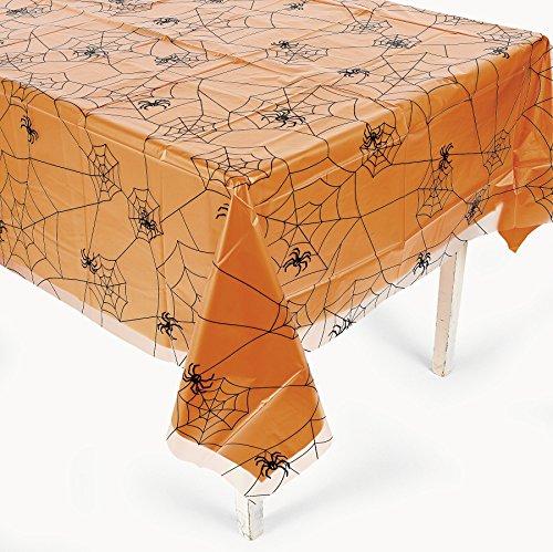 Halloween Tischdecke transparent mit Spinnennetz und Spinnen Motiv (Halloween Tischdecke)