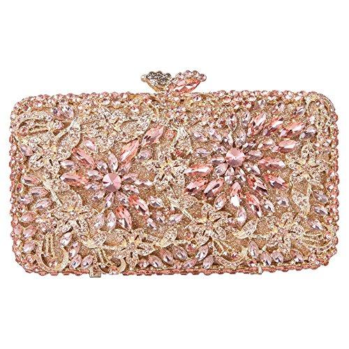 Damen Clutch Abendtasche Handtasche Geldbörse Luxus Glitzer Gitter Tasche mit wechselbare Trageketten von Santimon Champagner Santimon 5zmNrnxvnI
