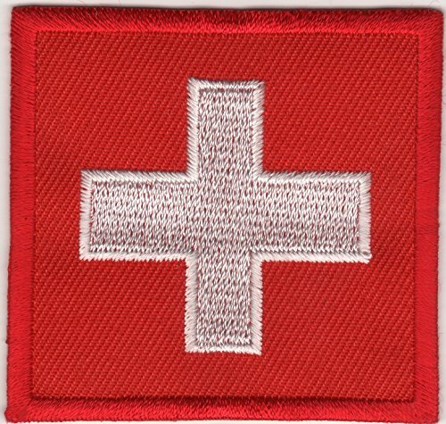 Iron on Patch Sew on Embroidered Application Patches Swiss Switzerland Country Flag Banner by JAB Seller -