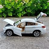 GUANGYING 1:32 BMW X6 Alliage Modèle De Voiture SUV Véhicule Hors Route Simulation De Modèle De Voiture en Métal Décoration De Son Et Lumière Tirer en Arrière Jouet Blanc