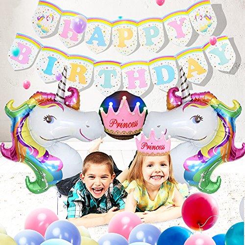 SPECOOL Rainbow Unicornio Fiesta de cumpleaños temática Decoraciones 1 Pieza Unicornio Feliz cumpleaños Banner + 2 Piezas de Globos Unicornio + Corona de cumpleaños (Rosa)