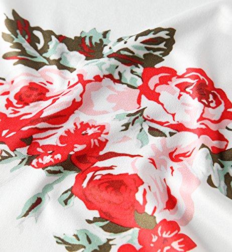 Tkiames Donne Moda Rose Stampe Blazer Cardigan Maniche Lunghe Giacca bianca