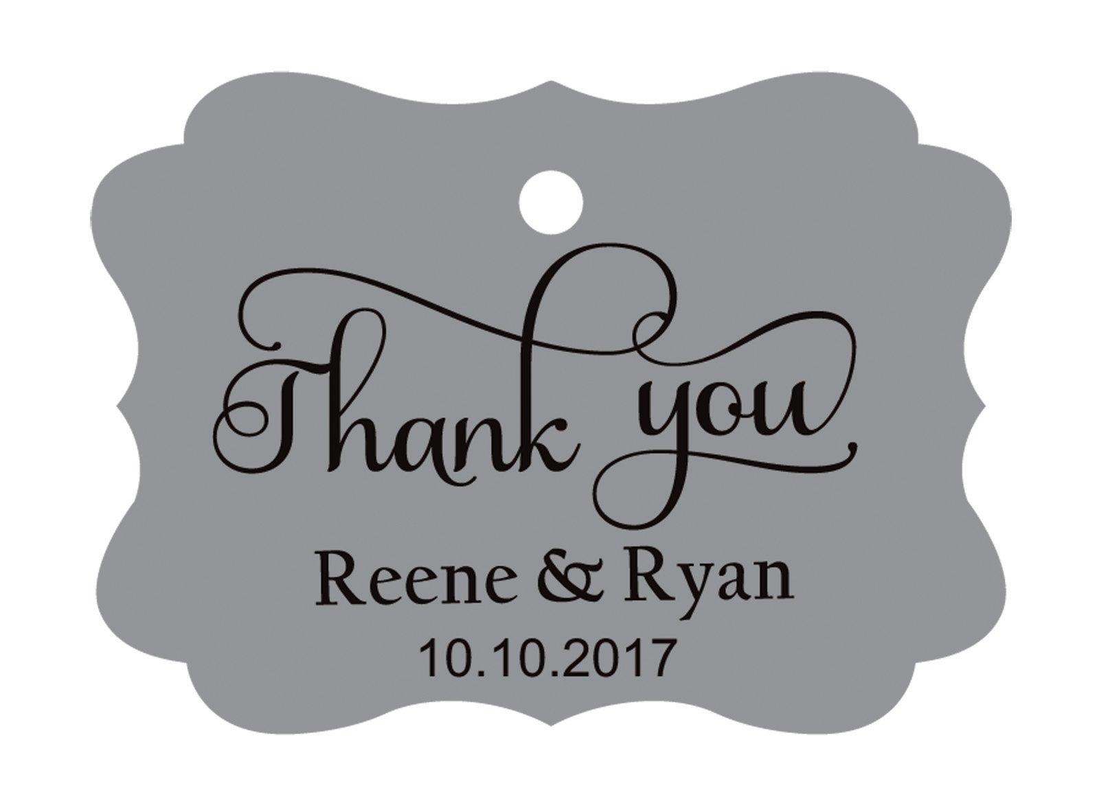 100pcs Thank You custom made cartellini personalizzato matrimonio carta regalo Tag Grey