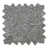 Divero 1qm Andesit Naturstein-Mosaik Fliesen für Wand Boden Bruchstein grau 9 Matten 33 x 33cm
