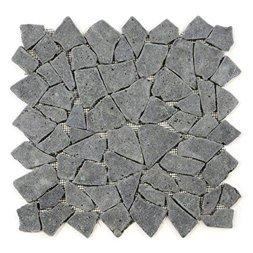 Divero 9 Fliesenmatten Naturstein Mosaik aus Andesit für Wand und Boden grau á 35 x 35 cm