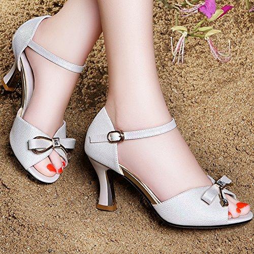 Estate moda donna sandali comodi tacchi alti,39 nero Beige