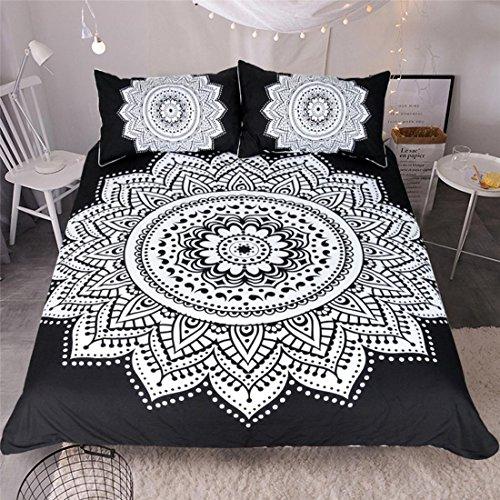 HUANZI Schwarz 3pcs Bettbezüge Set Easy Care Lotus Muster Bettdecke Sets Bettdecke Decke mit Kissen Koffer, Twin - Sets Twin-bettdecken