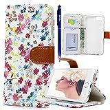 iPhone 7 Hülle, Yokata PU Leder Flip Vintage Farbig Blumen Case Motiv Weich TPU Silikon Backcover mit Credit Card Slots Brieftasche Tasche + 1 x Kapazitive Feder