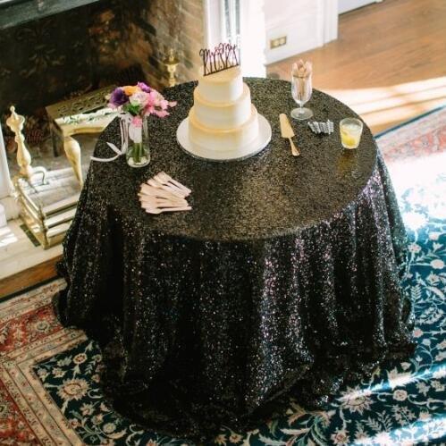 BLUELSS 120-Zoll runde Tischdecke Pailletten für Hochzeit Kuchen Dessert Tabelle Ausstellung Veranstaltungen ClothBlack DecorationBlack Tabelle (Hochzeit Dessert Tabellen)