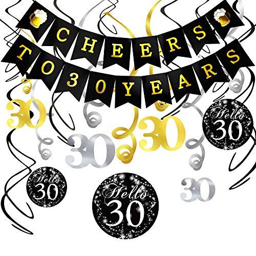 Konsait 30. Geburtstag Dekoration Set, Cheers Zum 30. Geburtstag Girlande Banner Folie Spirale Hängedekoration, Perfekte für Alle Männer und Frauen 30. Geburtstag Party deko