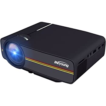 """Meyoung Portable Projector 1080P 1200 Lumens 150"""" for Outdoor Indoor Movie Night, Support Blu-ray DVD Player, Laptops, Tablets, Smartphones and HD Games (TC80 Black)"""