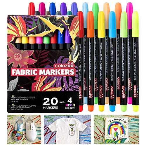 colozoo Stoffmalstifte 20er-Set: 4 UV Neon und 16 Textilstifte waschmaschinenfest - Textilmarker für Textil, Polyerster, Beutel, T-Shirt, Papier und sonstige