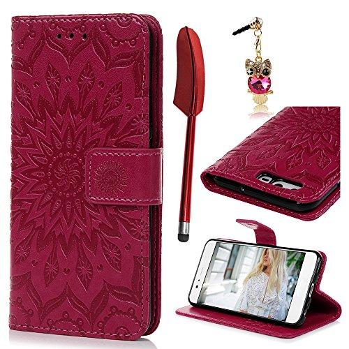 Huawei P10 Flip Cover, Custodia Libro Pelle PU e TPU Silicone con Funzione Supporto Chiusura Magnetica Portafoglio Libretto Bumper Case per Huawei P10, Girasole Rosa Caldo