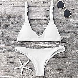 ZAFUL Donna Bikini a Triangolo a Tinta Unita Costumi da Bagno Imbottiti con Spallacci Regolabili