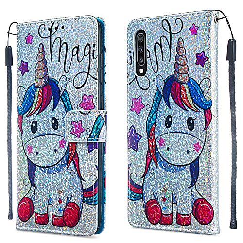 Huplant Compatible for Schutzhülle Samsung Galaxy A70 hülle Glitzer Leder Wallet Flip Schutzhülle für Galaxy A70 Brieftasche Handyhülle Funkeln Klapphülle Ständer Kartenfächer Magnet -Einhorn 1 - 1 Dota