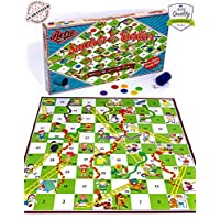 Dedimi Snakes and Ladders Board Games for Kids Classic Traditional game for boys girls and family quality time - retro board game for children