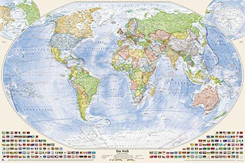 Karte Laminierte Der Welt (Politische Weltkarte, 150 x 100 cm, deutsch, beschichtet mit nicht-spiegelnder Folie, Stand 2017)