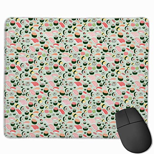 Happy Sushi Family Personalized Design Mouse Pad Gaming Mouse Pad mit vernähten Kanten Mauspad, rutschfeste Gummiunterseite, 24,8 x 30,5 cm, 3 mm dick - Best Gift Idea Logo Sushi