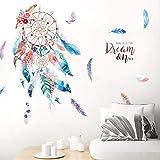 Muursticker, dromenvanger, gekleurde veren, wandtattoo, woonkamer, slaapkamer, behang, zelfklevend, eetkamer, wanddecoratie
