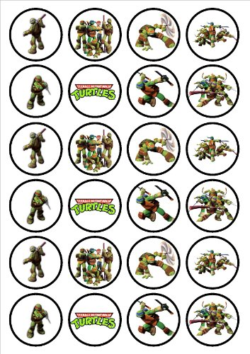 Image of Teenage Mutant Ninja Turtles Edible PREMIUM THICKNESS SWEETENED VANILLA,Wafer Rice Paper Cupcake Toppers/Decorations