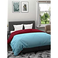Clasiko Reversible Double Bed King Size Comforter/Duvet for Winters; Color - Aqua & Maroon; Fabric - Micro Cotton; 300…