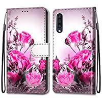 EnjoyCase Colorful Wallet Case for Samsung Galaxy A70,Cool Funny Animal Floral Butterfly Creative Design Pu Leather Magnetic Flip Cover with Card Slots and Wrist Strap