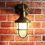 Premium Außenwandleuchte Messing echt rostfrei rustikal massiv Rillenglas Käfigschirm Wandlampe Terrasse Hauswand - 3