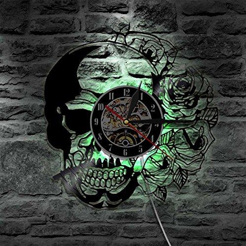 NACHEN Skull Rose Convulsions Vinyl Wanduhr Mit LED Bunten Licht Dekoration,Black,Diameter12inch