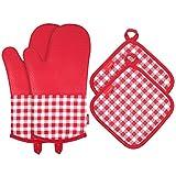 esonmus resistente al calor guantes para horno de silicona antideslizante guantes de horno + 2algodón salvamanteles para cocina cocinar hornear asar barbacoa -- Rojo Plaid