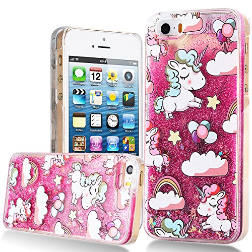 iPhone 5S Hülle Einhorn , iPhone SE Hülle Glitzer Unicorn