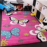 Tappeto Bambina Per Stanza Bambini Con Farfalla E Fiori Rosa Fuchsia Blu Crema , Dimensione:80x150 cm