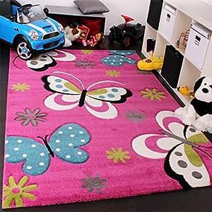 Tappeto Bambina Per Stanza Bambini Con Farfalla E Fiori Rosa Fuchsia Blu Crema , Dimensione:120x170 cm