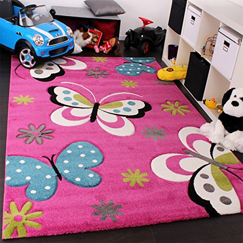 Kinder Teppich Schmetterling Design Grün Rot Grau Schwarz Creme Pink, Grösse:80x150 cm