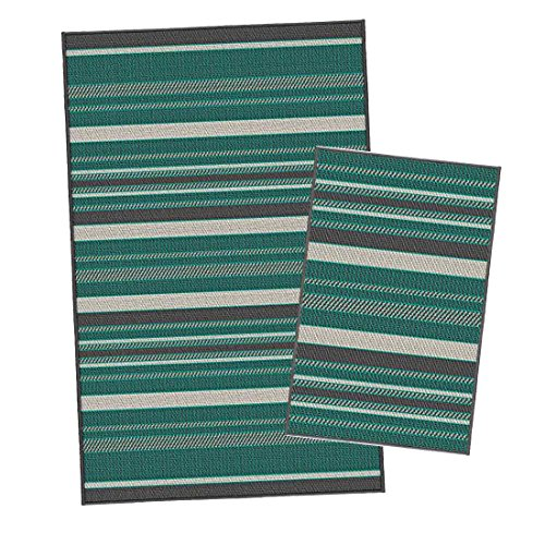 Korhani Outdoorteppich Set Nelson 2-Teilig Gartenteppich 160x213/80x112 cm Beige/Hellgrün/Dunkelgrün 100% Polypropylen (UV-behandelt) Balkonteppich Terrassenteppich