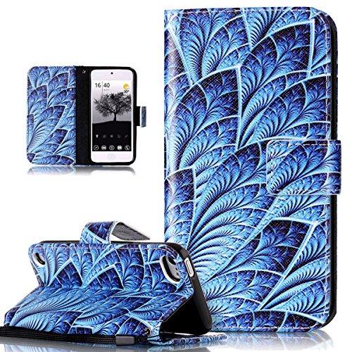 Kompatibel mit iPod Touch 6G Hülle,iPod Touch 5G Hülle,Bunte Gemälde Gemalt PU Lederhülle Flip Hülle Cover Schale Ständer Etui Karten Slot Wallet Tasche Case Schutzhülle für iPod Touch 6/5,Blaue Feder