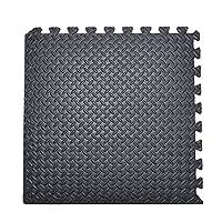 MissSnower Interlocking Reversible Floor Matting 12mm Thick Eva Foam Mats for Gym Play Exercise Yoga 60 x 60cm (Black, 16Pcs)