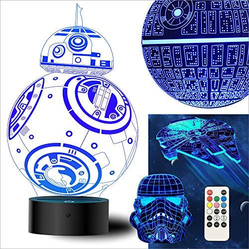 (oannao Star Wars 3D Lampe Spielzeug - Star Wars Geschenke Nacht Licht,4 Styling,7 Farblampen. Fernbedienung Oder Berührung.Dekorative Räume,Star Wars Fans Gifts (4 Stück))