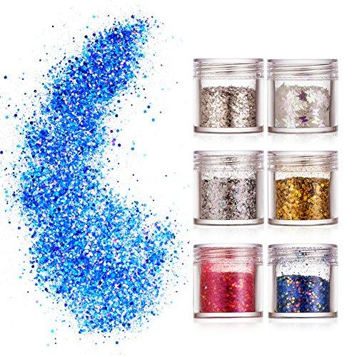 Glitzer Festival Kosmetik Glitzer für Gesicht Nail Nägel Lippen Haare Körper Make Up Glitzer Pailetten für Party Clubs - Glitter Make-up Kleber