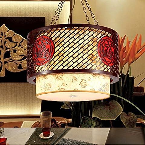 MSUXT Iluminación colgante Salón clásico de madera se enciende una lámpara de decoración restaurante vitela lámparas