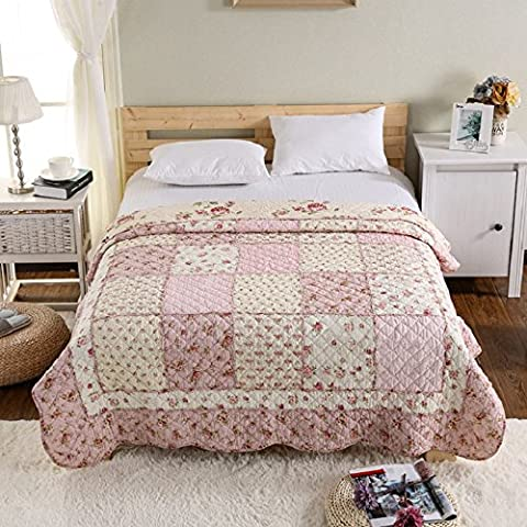 Beddingleer COTTON 150 X 200CM Single Quilted Bedspread Patchwork Throws ,Blankets ,Sofa Throw, Light Weight