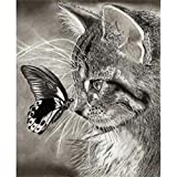Shager Art Nouveau pittura in diamante 5d diy kit gatto Farfalle ragazza 30* 40cm–in resina decorazione di casa salotto camera Diamond Painting Kit Completi