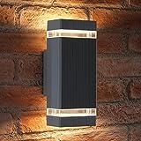Auraglow Indoor / Outdoor Double Up & Down Wandleuchte - Silber - Warm White LED Leuchtmittel Enthalten
