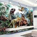 Wandgemälde Benutzerdefinierte 3D Poster Fototapete 3D Cartoon Dinosaurier Seide Wandgemälde Wohnzimmer Schlafzimmer Kinderzimmer Wandmalereien Tapete,60Cm(H)×120Cm(W)