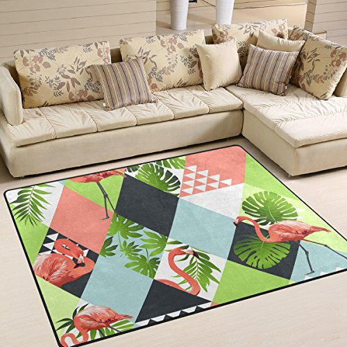"Yibaihe Jungle Pink Flamingos With Mosaic Printed Large Area Rugs,Lightweight Non Slip Floor Carpet Use For Living Room Bedroom Home Deck Patio,160 x 122 cm (5'3"" x 4')"